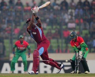 Kieron Pollard is bowled, Bangladesh v West Indies, 5th ODI, Mirpur, December 8, 2012