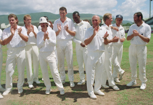 England players  and support staff (from left): Robin Smith, David Capel, Jack Russell, Angus Fraser, Chris Lewis, Micky Stewart, Alec Stewart, Nasser Hussain, Graham Gooch celebrate their nine-wicket victory, West Indies v England, 1st Test, Jamaica, 5th day, March 1, 1990