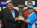Mushfiqur Rahim holds the trophy after winning the series, Bangladesh v West Indies, 5th ODI, Mirpur, December 8, 2012
