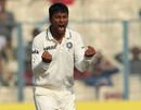 Pragyan Ojha reacts after getting Jonathan Trott out lbw, India v England, 3rd Test, Kolkata, 5th day, December 8, 2012