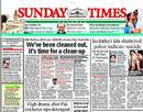 The <i>Sunday Times of India</i>'s front-page headline calling for a shake-up in the Indian team, December 9, 2012