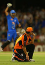 Theo Doropoulos celebrates as Nathan Coulter-Nile looks on, Perth Scorchers v Adelaide Strikers, BBL, Perth, December 9, 2012
