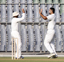 Manpreet Gony and Harbhajan Singh celebrate taking a wicket