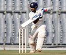 Ajinkya Rahane plays the ball to the off side