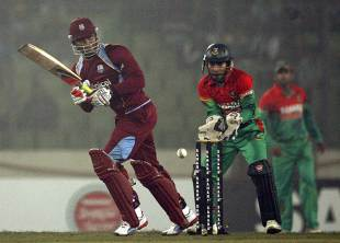 Marlon Samuels drives one through the on side, Bangladesh v West Indies, only Twenty20, Mirpur, December 10, 2011