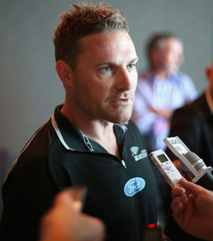 Brendon McCullum talks to reporters before the New Zealand team departed for South Africa, Auckland, December 11, 2012
