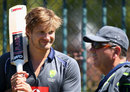 Shane Watson chats with Australian selector Rod Marsh, Hobart, December 12, 2012