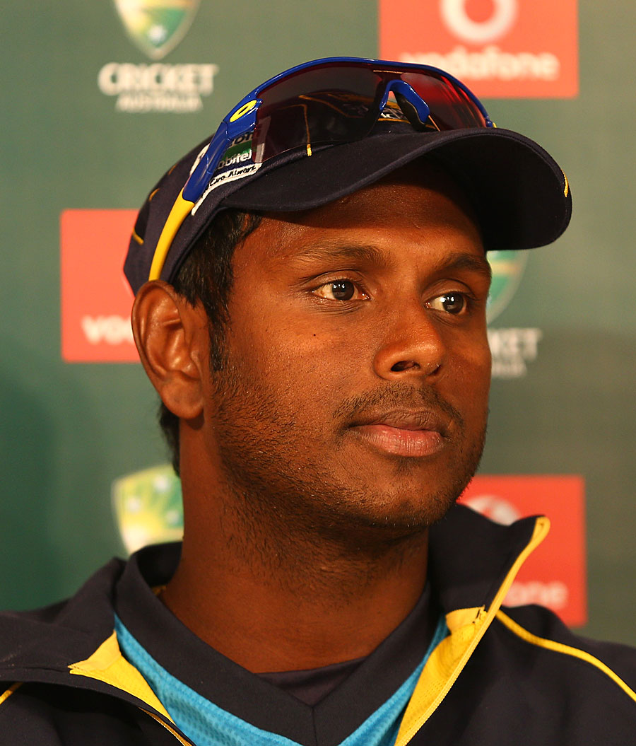 Angelo Mathews addresses the media