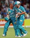 Peter Forrest and Chris Hartley are all smiles after their last-ball win, Adelaide Strikers v Brisbane Heat, Big Bash League, Adelaide, December 13, 2012