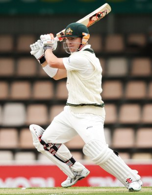 David Warner crunches one through the off side, Australia v Sri Lanka, 1st Test, Hobart, 1st day, December 14, 2012
