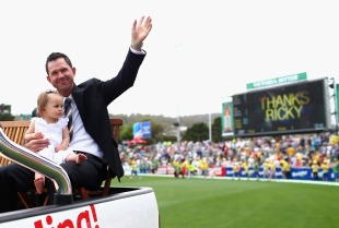 Ricky Ponting and his daughter during a farewell lap at Bellerive Oval, Australia v Sri Lanka, 1st Test, Hobart, 1st day, December 14, 2012