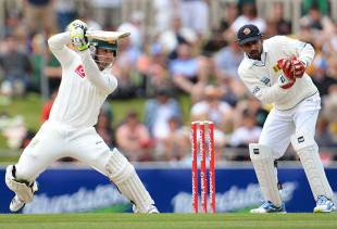 Phillip Hughes punches one through the off side, Australia v Sri Lanka, 1st Test, Hobart, 1st day, December 14, 2012