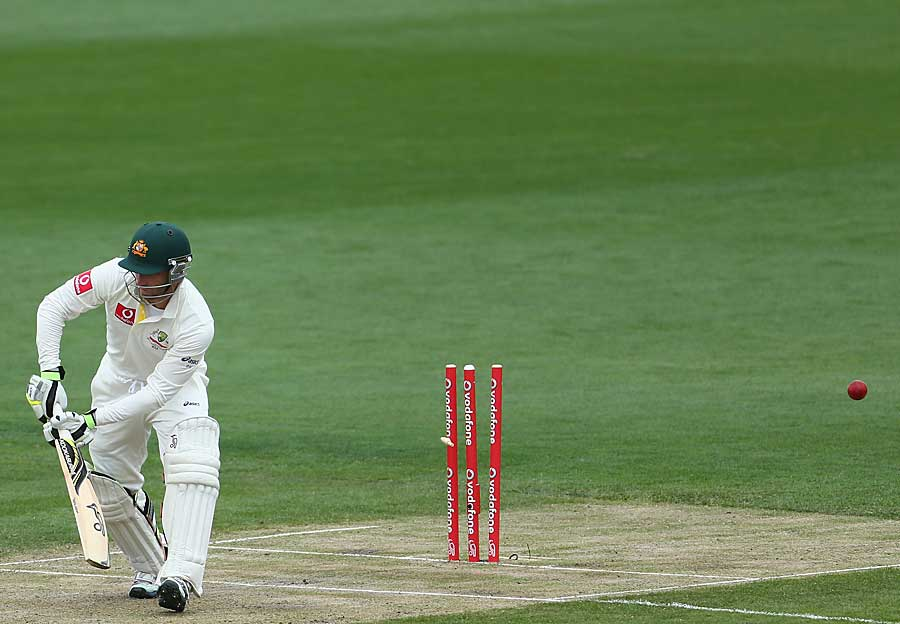 Phillip Hughes was bowled for 86