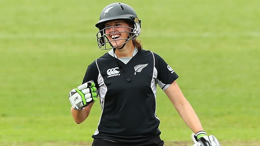 Amy Satterthwaite celebrates her maiden century