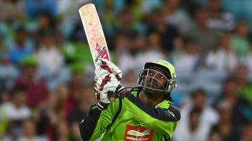 Chris Gayle tries to go over the top