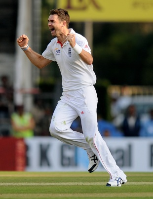James Anderson celebrates the wicket of Sachin Tendulkar, India v England, 4th Test, Nagpur, 2nd day, December 14, 2012