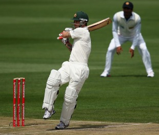 Matthew Wade plays a pull, Australia v Sri Lanka, 1st Test, Hobart, 2nd day, December 15, 2012