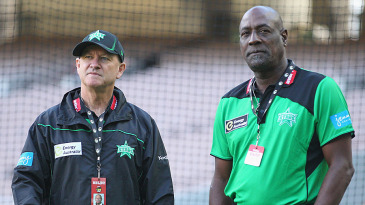 Vivian Richards and Greg Shipperd look on before the start of the game