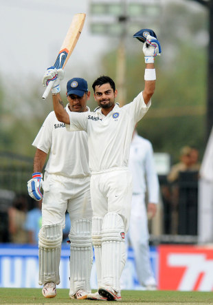 Virat Kohli celebrates his third century in Tests, India v England, 4th Test, Nagpur, 3rd day, December 15, 2012