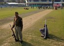 A security guard at Green Park, India v Sri Lanka, 2nd Test, Kanpur, November 22, 2009