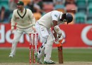 Dimuth Karunaratne is bowled by a yorker