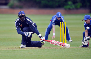 Hamish MacKenzie of Australia bats in a match for the visually impaired