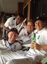 Nick Compton, Joe Root, Samit Patel and Jonny Bairstow relax after victory, celebrates the series win, India v England, 4th Test, Nagpur, 5th day, December 17, 2012