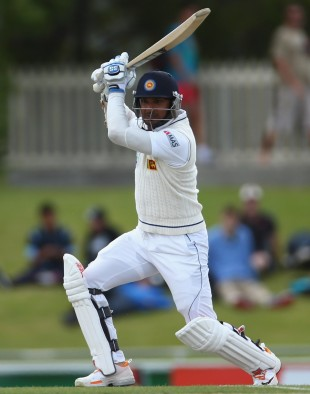 Kumar Sangakkara drives through the off side, Australia v Sri Lanka, 1st Test, Hobart, 5th day, December 18, 2012
