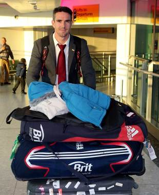 Kevin Pietersen arrives back at Heathrow Airport after England's series win in India, London, December 18, 2012