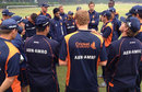 Peter Borren speaks to his players after Netherlands' win over the England Performance Programme, Pune, December 16, 2012
