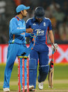 Virat Kohli shares a few words with Luke Wright
