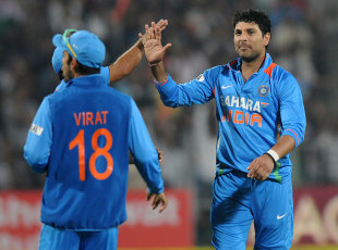 Yuvraj Singh claimed three wickets, India v England, 1st T20, Pune, December 20, 2012
