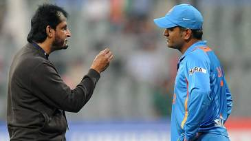 India's chairman of selectors Sandeep Patil has a word with captain MS Dhoni