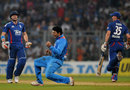 Yuvraj Singh celebrates taking the wicket of Luke Wright