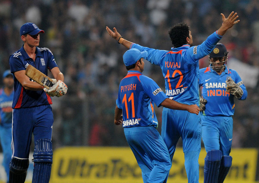 Yuvraj Singh is congratulated on removing Alex Hales