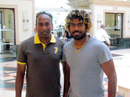 Lasith Malinga poses for a photo with Saliya Ahangama, Melbourne, 2012