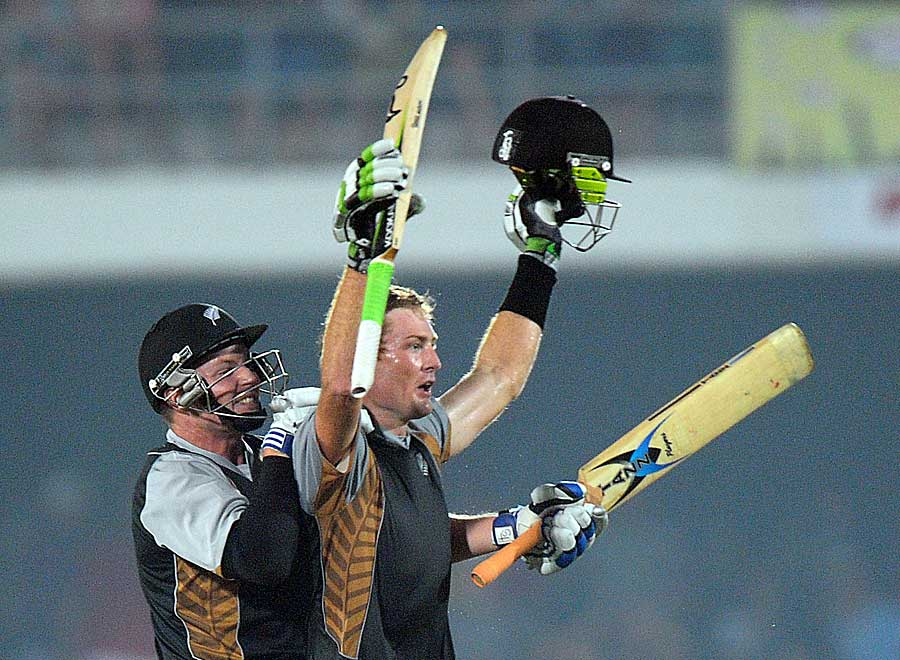 Martin Guptill struck a boundary off the last ball and reached his century
