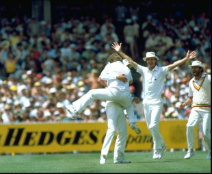 Ian Gould catches Greg Chappell off Norman Cowans, Australia v England, 4th Test, Melbourne, 29 December, 1982