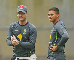 Michael Clarke and Usman Khawaja at practice, Melbourne, December 24, 2012