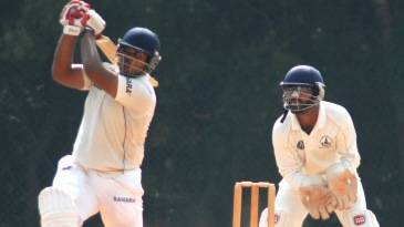 Mukul Dagar plays an aggressive shot during his knock of 65