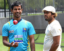 Nuwan Kulasekara and Lasith Malinga chat at a practice session
