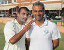 Joginder Sharma with his physio Amit Tyagi, Karnataka v Haryana, Ranji Trophy 2012-13, Group B, Hubli, 4th day, December 25, 2012