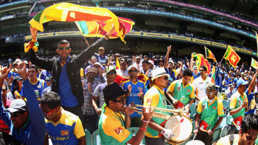 Sri Lanka fans cheer on their side at the MCG