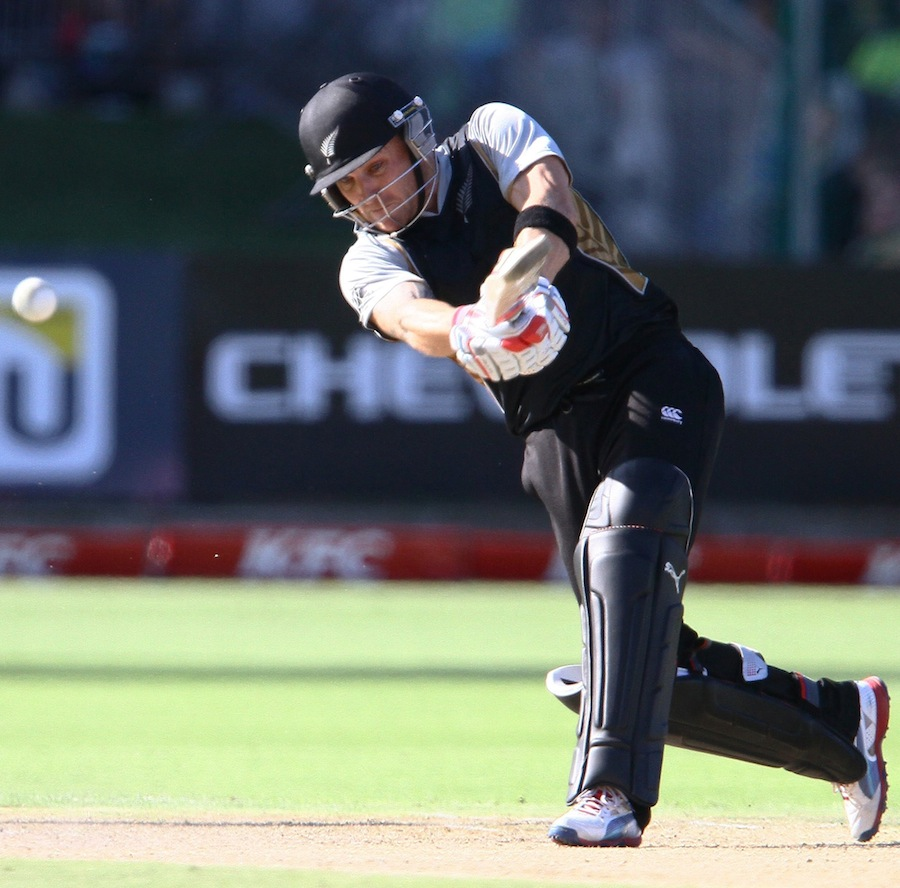 Brendon McCullum charges down the pitch