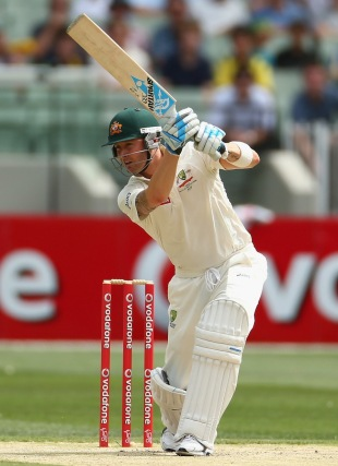Michael Clarke drives, Australia v Sri Lanka, 2nd Test, day two, Melbourne, December 27, 2012