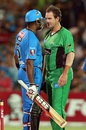 Kieron Pollard and John Hastings exchange a few words, Adelaide Strikers v Melbourne Stars, Big Bash League, Adelaide, December 27, 2012