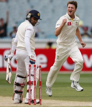 Jackson Bird celebrates after bowling Mahela Jayawardene, Australia v Sri Lanka, 2nd Test, Melbourne, 3rd day, December 28, 2012