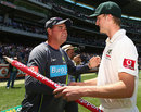 Mickey Arthur shakes hands with Jackson Bird, Australia v Sri Lanka, 2nd Test, Melbourne, 3rd day, December 28, 2012