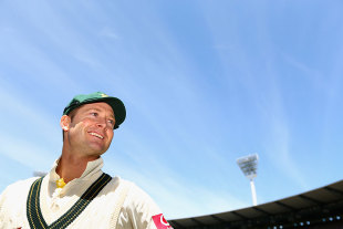 A satisfied Michael Clarke after wrapping up the series, Australia v Sri Lanka, 2nd Test, Melbourne, 3rd day, December 28, 2012