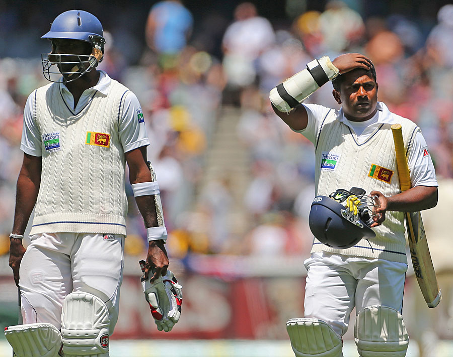 Shaminda Eranga and Rangana Herath after Sri Lanka's defeat